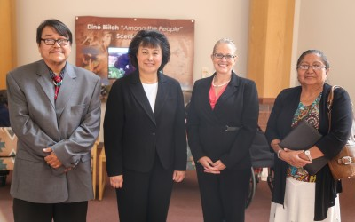 L-R: Stenson Wauneka, Board Chairman of Sage Memorial Hospital; Dr. Yvette Roubideaux, acting Director of Indian Health Service; Christi El-Meligi, CEO of Sage Memorial Hospital; and Maybelle Kelewood, Board member of Sage Memorial Hospital.